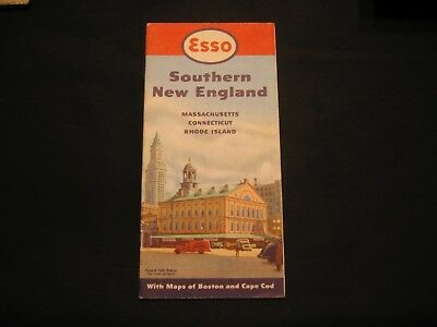 Vintage road map Esso Southern New England 1950