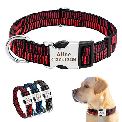 Personalised Dog Collar Free Engraved Name and Tel Custom Adjustable Pet Puppy