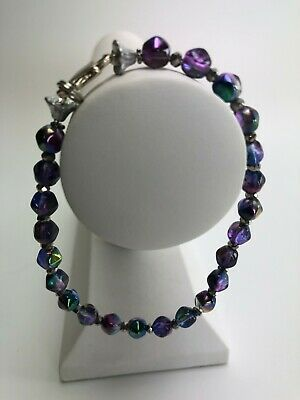 """Vintage Bracelet 8.75"""" Faceted Iridescent Bead Strand w/ Silver Colored Spacers"""