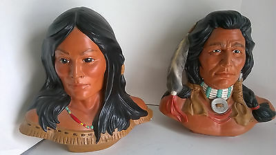 2 1981 Provincial Mold American Indian Bust's WARRIOR CHIEF & SQUAW