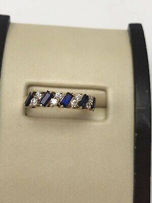 f0895d402 Estate 14K Yellow Gold Natural Baguette Blue Sapphire And Round Diamond Ring