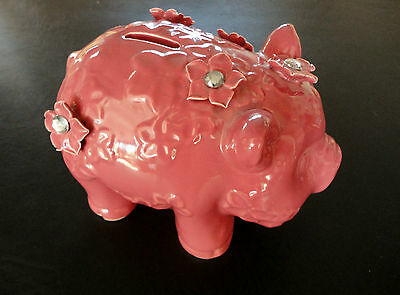 NEW Pink Ceramic Pig Figurine PIGGY BANK Flowers Rhinestones Jeweled Girls Baby!