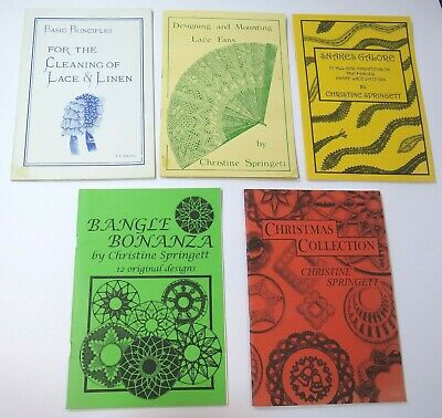 5x Lace-Making Booklets, 4x by Christine Springett - Cleaning, Patterns, Fans