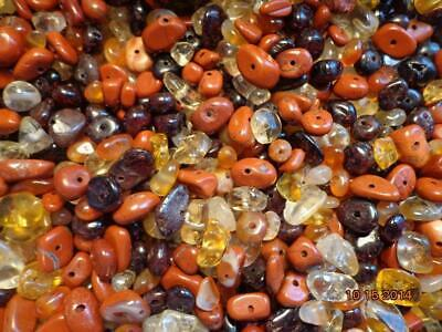 2 pack of  gemstone drilled chips mix citrine, carnelian, red jasper, garnet