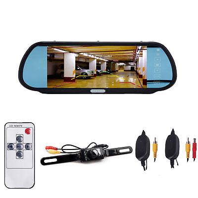 "7"" LCD Monitor/Mirror Car Wireless Back up Rear View Camera Parking Reverse Kit"