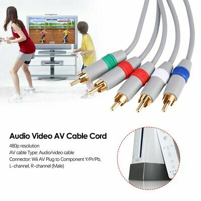 6FT HD TV Component RCA Audio Video AV Cable Cord Plug for Nintend Wii U WiiRZ