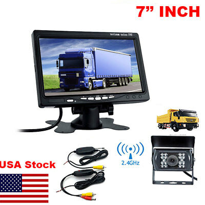 "7"" Monitor for RV Truck+Wireless IR Rear View Back up Camera Night Vision System"