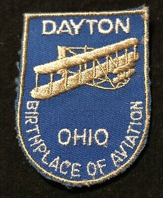 DAYTON BIRTHPLACE OF AVIATION Vintage Patch OHIO State Souvenir Travel VOYAGER