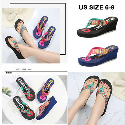 d9afe3ff1576 Women s Summer Slippers Printing Beach Boho Flip Flops Platform Ladies  Pumps USA