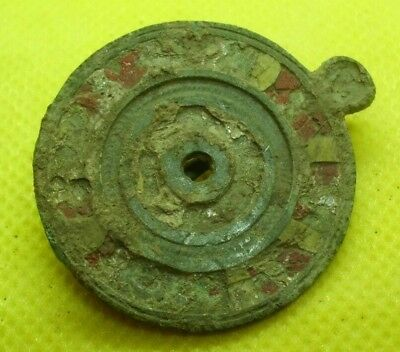 Rare Ancient Roman Enameled Bronze Solar Fibula Brooch - Complete - Beautiful