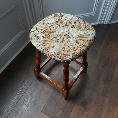 Antique Vintage Tapestry Floral Farmhouse Country Turned Oak Stool