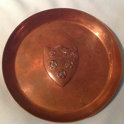 Arts & Crafts French Grenoble Armorial  Shield Copper Pin Tray By  Js & S