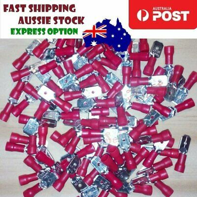 100pcs MDD1.25-250 Male Spade Connector Terminals Crimp MDD 1.25-250 22-16 AWG