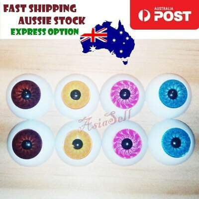 4 Pairs 20mm Doll Eyes BLUE BROWN PINK YELLOW Eyeballs Round Plastic Bear Reborn