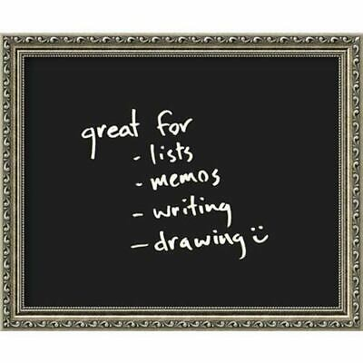 Framed Glass Dry Erase Board Small Black Parisian Silver: 23 x 19-Inch Message