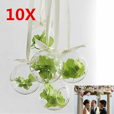 10 X Glass Hanging Plant Terrarium Flower Vase Fish Pot Wall Ball Container MT