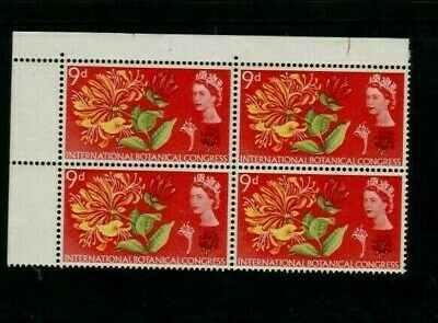 1964 9d BOTANICAL Stamp BLOCK of 4 with 'Line Through INTER' Variety REF:PP379