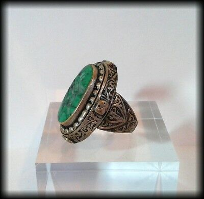 Antique Chunky Near Eastern Carved Green Stone Tughra Animal Intaglio Seal Ring