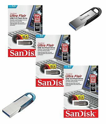 SanDisk Ultra Flair USB 3.0 Flash Pen Drive 64GB 128GB 256GB Blue / Black