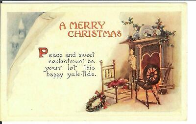 Antique Postcard Merry Christmas Arts and Crafts Embossed Spinning Wheel
