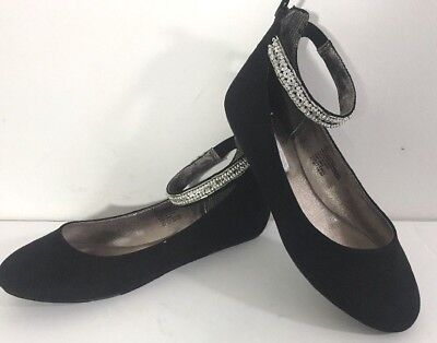 254c0ca24a1 Steve Madden Girls 4 Black Sequin Ankle Strap Flats Party Dress Up Shoes  Jziler
