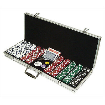 500 Piece Poker Chips Aluminum Carry Case Set Home Card Deck Games