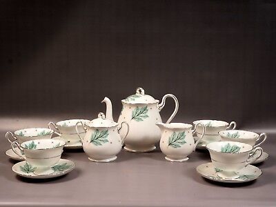 Shelley Drifting Leaves 13848 Tea Coffee Set Teapot Creamer Sugar Bone China