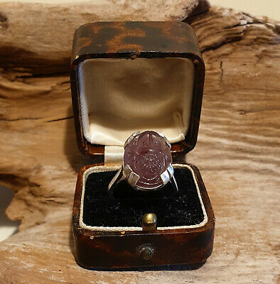 Vintage Art Deco Style Egyptian Revival Amethyst Scarab Solid Silver Boxed Ring
