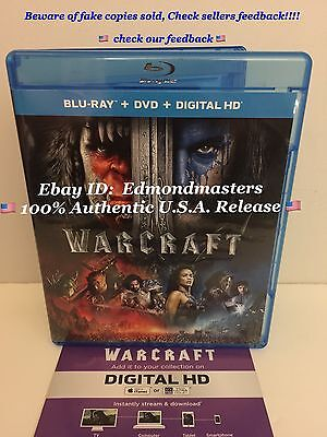 WARCRAFT (2016) Blu-Ray + Digital Code (NO DVD INCLUDED) Ships Fast!!