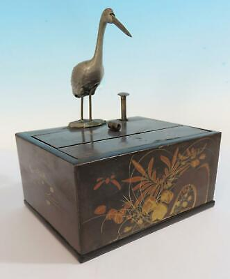 Antique Oriental Japanese Cigarette Box With Mechanical Crane / Bird
