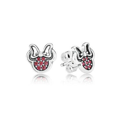 230843665 New Authentic Pandora 290580CZR Disney, Minnie Silver Stud Earrings with  Red CZ