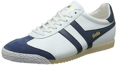 New Mens Gola Harrier 50 Leather Retro Trainers Running Shoes UK 6-13 Navy/White