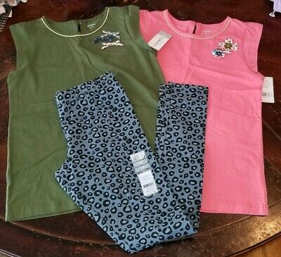 Girls size 14 Carter's Leggings Shirts Tops NWT RTL $52.00 cheetah print green