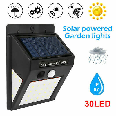 30LED Solar Powered PIR Motion Sensor Wall Security Light Garden Outdoor Lamp UK