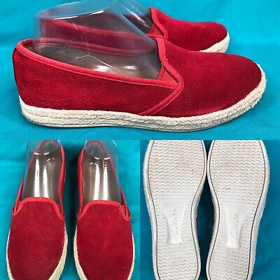 6092117ba834 CLARKS SIZE 8 EU 38.5 Red Leather Slip On Wedge Mules Clogs Slides ...