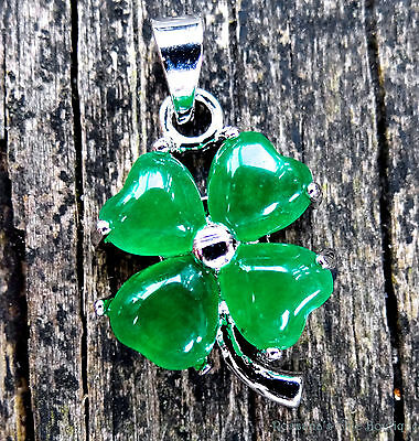 Jade pendant lucky clover silver plated balance and protection