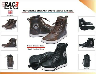 Rac3  Motorcycle Motorbike Real Leather Water Proof Armour Boots Sneaker