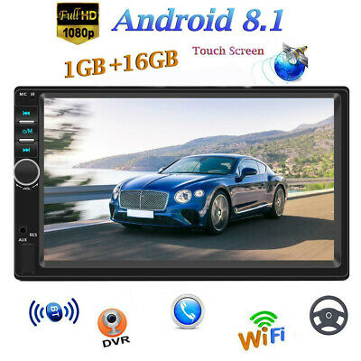 "Android 8.1 7"" Touch Quad-Core Car Stereo FM MP5 Player GPS Navi Radio BT Camera"