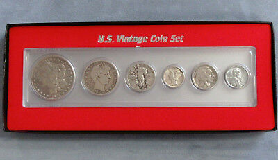 6pc Silver Vintage Coin Set, Gift Boxed, Steel Cent to Morgan Dollar