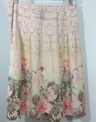 c0d8ef5b8ac Apostrophe Women Skirt Size 6 Floral Print Lined Side Zipper Pleated Top  Aline