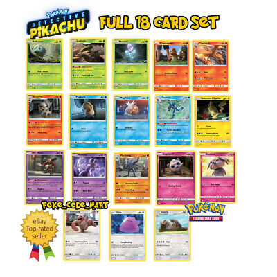 Detective Pikachu Full 18 Card Set/Collection (Pokemon TCG Trading Card Game)