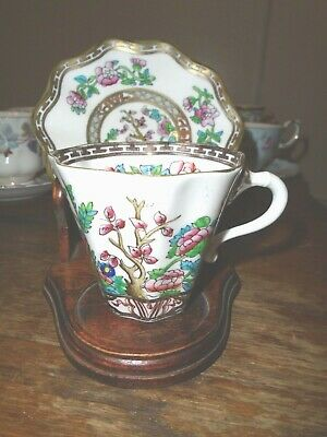 Coalport Demitasse Cup and Saucer Set Leadless China Floral