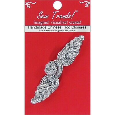 "Vision Trims Handmade Chinese Frog Closure 2-3/4""x3/4"" 1/pkg-metallic Silver"
