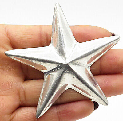 GCE MEXICO 925 Sterling Silver - Large Hollow Shining Star Brooch Pin - BP2630