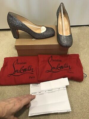 the latest c19a1 32367 CHRISTIAN LOUBOUTIN CADRILLA Antic Silver Glitter Pumps 70mm Size 8.5/38.5  NWB