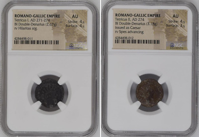 "NGC Roman/Gallic Empire LOT Of 2, The Final Emperors TETRICUS I & II Graded ""AU"""