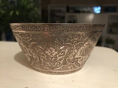 Vintage Middle Eastern Sterling Silver Engraved BOWL Islamic Art