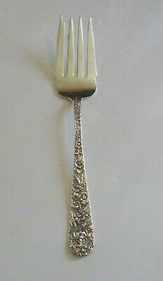 """Kirk REPOUSSE Sterling Silver 8.5"""" Cold Meat Fork, 65 grams, Monogram"""