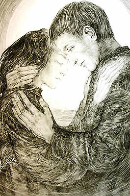 Sulamith Wulfing 1960 YOUNG LOVERS in MOONLIGHT Professionally Matted Art Print