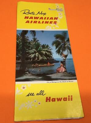 1957 Hawaiian Airlines route map vintage See All  Hawaii travel brochure paper